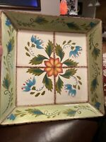 """Stunning Clay Art """"WildFlower"""" Hand Painted Ceramic Square Serving Platter"""