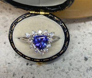 Rhapsody AAAA Tanzanite And diamond Platinum Ring