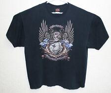 Harley Davidson Motorcycle Mens Black Graphic Tee Shirt Sydney Australia EUC