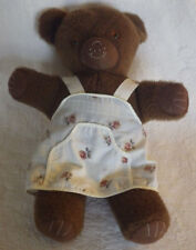 "Old Vintage Looking Brown Bear Rose Apron Stuffed Animal 18"" Tall"