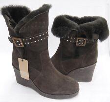 Emu Australia Womens Brown Suede Boots Sheepskin Lining Size 10 Heighton Lo