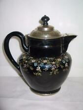 Antique Manning Bowman Burslem England No 37 Black Floral Graniteware Coffee Pot
