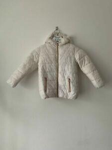 Girls NEXT Padded Winter Coat White with Polka Dot Effect