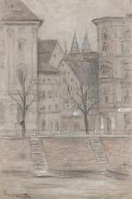 Julius Rosenbaum Antico Disegno tedesco città dal fiume IMPRESSIONISTA 1914