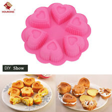 6 Heart Tube Ring Bundt Hearts Silicone Bakeware Cake Pan Mould Form Tin Baking