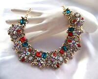 Beautiful Retro Vintage Style Multi Color Crystal  Rhinestone & Glass Necklace