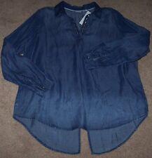 NWT Westbound Ombre Blue INDIGO Lyocell DENIM Tunic Top Shirt 1X SPLIT BACK