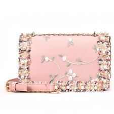 Women Lace Floral Handbag Sweet Ladies Square Pearl Decor Shoulder Messenger Bag