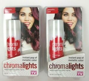 2 Chroma Lights Metallic Red Hair Color Spray As Seen On TV Chromalights NEW