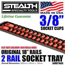 "STEALTH 2 x 18"" Rail 3/8"" Twist Lock Socket Organiser with Tray ST 8453"