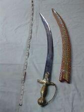 3 FOOT HANDMADE INDIAN SWORD FULL BRASS HANDLE KAMANI BLADE FULL COWER WOODEN