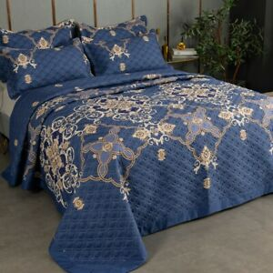 Floral Quilted Patchwork Bedspreads Set Queen King Size Coverlet Bed Throw Rug