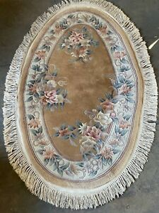 """TRADITIONAL FRINGED OVAL AUBUSSON STYLE AREA RUG / CARPET  39"""" X 48"""" GOLDS"""