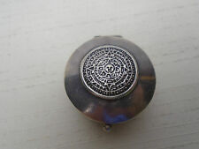 Stunning Sterling Silver 925 Mexico Snuff Pill Box Axtec Calendar Top Hinged