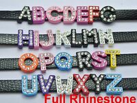 "26 Alloy Full Rhinestone Alphabet Letter ""A-Z"" Slide Charms Fit 8mm Wristband"