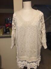 Women's Daytrip Ivory & Beige Crocheted Lace Sleeve Oversized Sweater Size L