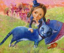 16X20'' Acrylic DIY CAT & Girl Paint By Number kit Beautiful On Canva 1812