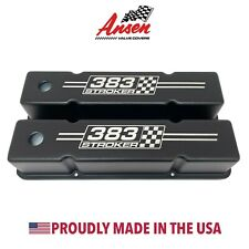 Small Block Chevy Tall Valve Covers (Black) 383 Stroker Logo - Ansen USA