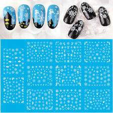 11Pcs/Sheet White Snow Flower Christmas Water Transfer Decals Nail Art Stickers