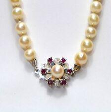 99cf2cd88b10 14k 585er Oro Blanco Kastenschlie con Rubí Piedras Akoya Collar de Perlas