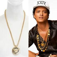 new VERSACE polished gold Medusa medallion pendant chunky necklace Bruno Mars
