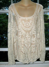 "New Victorian Romantic Embroidered Lace Blouse AnThRoPoLoGiE  XXL~ 48"" BusT"