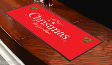 Personalised Christmas Red Bar Towel Runner Pub Party Mat Beer Cocktail Gift