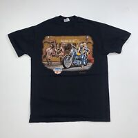 Vintage 90s Easyriders T-Shirt Size Large 3D Emblem Style Black Single Stitch