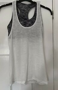SIZE 12/14 gym vest top Double Layer Bra grey white Fitness Top Size Large worn1