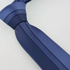 Coachella Ties Blue Half Navy Stripe Necktie Microfiber Skinny Tie New design