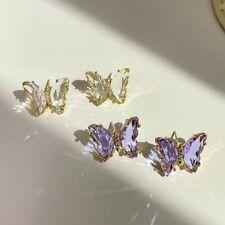 Fashion Crystal Transparent Butterfly Earrings Stud Drop Dangle Women Jewellery