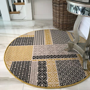 Yellow Patchwork Circle Rugs | Mustard & Gray Round Dining Room Rugs | CHEAP RUG