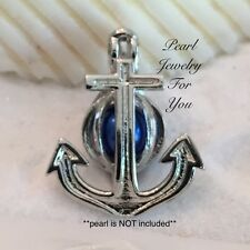 ANCHOR Nautical Sailor Pearl Cage Silver Plated Pendant for akoya oyster pearls