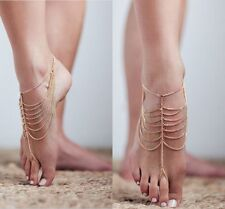 Ankle Bracelet Foot Beach Jewelry Women Fashion Two Gold Anklet Chain