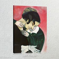 Chagall Amanti in rosa QUADRO MODERNO STAMPA SU TELA QUADRI ARTE STAMPE