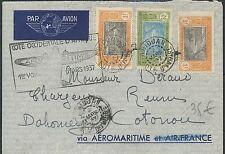 Lettre 1er vol AOF Abidjan Cote d'ivoire pour Cotonou Dahomey,first flight cover