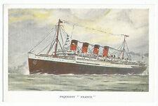 Paquebot France French Line C G Transatlantique Ship Vintage Postcard