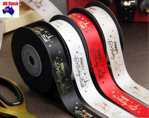 25MM Happy Birthday Printed Polyester Ribbons 1M/2M/4M/5M Gift wrapping Ribbon