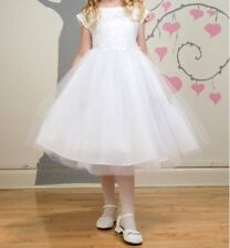 CLOSEOUT FLOWER GIRLS WEDDING PAGEANT WHITE  DRESS SIZE 2, 4, 6