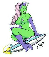 Coop Sticker Decal martian pin up girl kustom kulture hot rod poster pop NOS