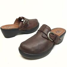 Crocs Women's Clog Mules SLip on Casual Shoe Sz 10 Brown Leather Buckle Platform
