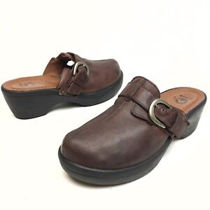 @@ Crocs Women's Clog Mules SLip on Casual Shoe 10 Brown Leather Buckle Platform
