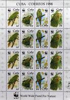 Caribbean Birds,Parrots,WWF- 4x4 st.in M/Sh,1998,MNH.CU 102