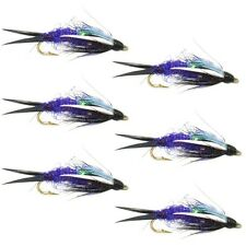 Double Bead Purple Psycho Prince Nymph Fly Fishing Flies - 6 Flies Hook Size 10