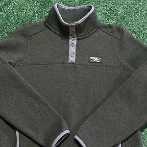 LL Bean Pullover Sweatshirt Boys Medium Youth Green T Snap Collared Quarter Zip