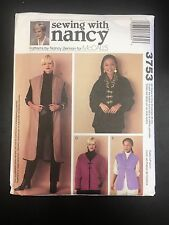 Sewing with Nancy #3753 Misses Unlined Vests & Jackets - All Sizes