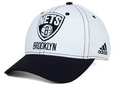 BROOKLYN NETS - ADIDAS NBA 2-TONE 14 FLEX FIT HAT CAP - WHITE BLACK Small/Medium