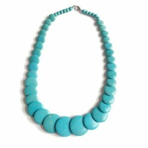 Turquoise Stone Necklace Oval Stone Short Necklace Cool Necklace