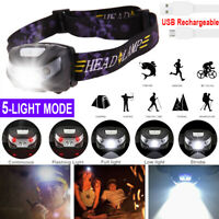 Waterproof Head Torch LED Headlamp Flashlight USB Rechargeable CREE Fish Camping