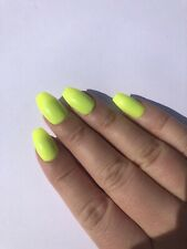 *Hand Painted Press On False Nails Neon Yellow Gel Polish Short Coffin Limited*